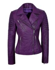 Ladies Real Fashion Biker Motorcycle Style Leather Jacket